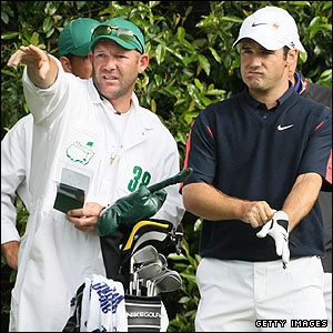 Immelman consults with his caddie