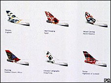 British Airways tail fins