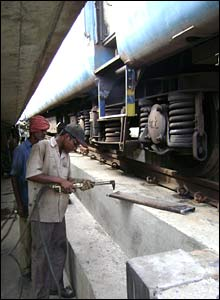 preparations for the train link between India and Bangladesh