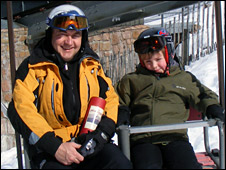 Skiers Jim Stewart and his son Callum