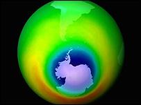 Imagen del agujero en la capa de ozono sobre la Antártida en 2009