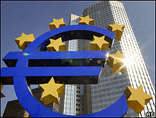 The Euro sculpture in front of the European Central Bank building in Frankfurt