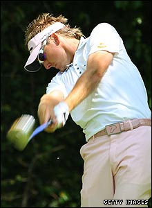 Ian Poulter makes sweet contact with the ball