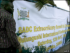 Sign announcing SADC summit, in Lusaka, Zambia - 11/4/2008
