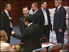 Macedonian legislators during a break in Friday's session, before voting to dissolve parliament - 11/4/2008