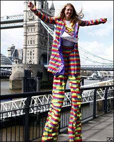 Michelle Frost on 4ft stilts