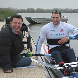 Rower Tom Aggar and BBC Breakfast sports presenter Chris Hollins