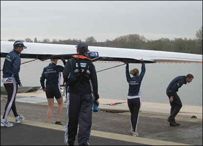 The mixed coxed four get ready to take to the water