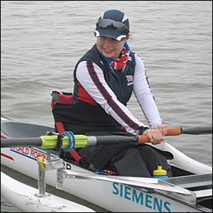 Single sculler Helene Raynsford on the water