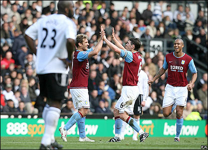 Stilyan Petrov celebrates scoring the third for Villa