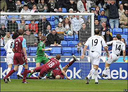 Kevin Davies pokes home from a corner for the hosts