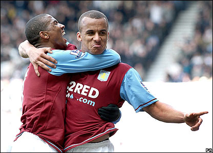 Gabriel Agbonlahor celebrates his goal for Villa