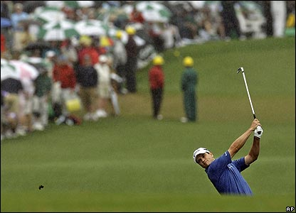 Zach Johnson approaches the first hole at Augusta