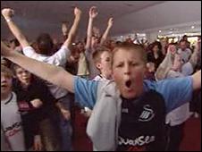 Swansea fans celebrate