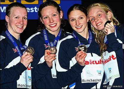 GB's 4x100m women freestyle quartet