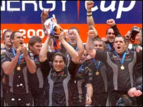 The ecstatic Ospreys celebrate their EDF Energy Cup final win
