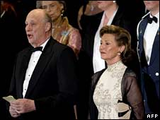 King Harald with Queen Sonja at the Oslo opera house