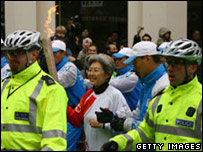 Fu Ying with the Olympic torch in London