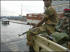 Soldiers patrolled Addis Ababa after post-election violence in 2005