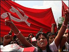 Maoist supporter celebrates in Kathmandu (12.04.08)