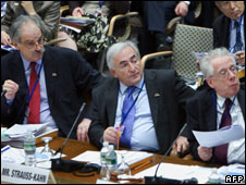 (L-R) Tommaso Padoa-Schioppa, Dominique Strauss-Kahn and John Lipsky