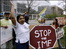 Activists outside the IMF Spring Meeting