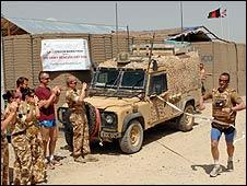 Major Al Jarvis completing the marathon in Afghanistan