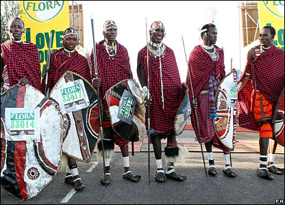 Six Masai warrior from Tanzania at the beginning of the Marathon