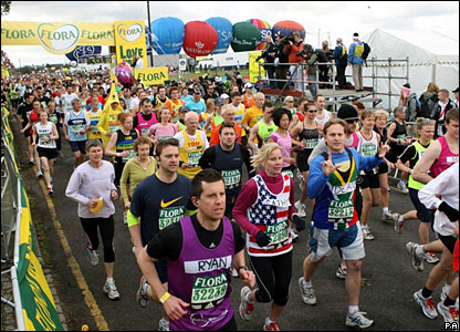 The Green Start of the London Marathon gets underway at Blackheath