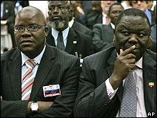 MDC leader Morgan Tsvangirai and Secretary General Tendai Biti, SADC summit, Zambia