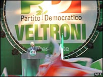 Italy election rally April 2008