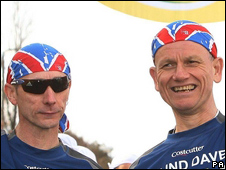 Malcolm Carr and Dave Heeley at the start line of the London Marathon