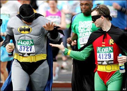Runners dressed as 'Batman' and 'Robin'