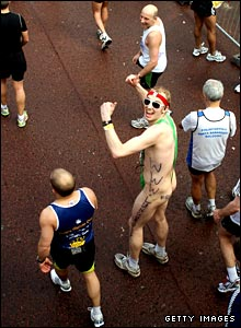 Runner dressed as Borat