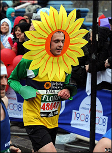 Runner dressed in a flower costume