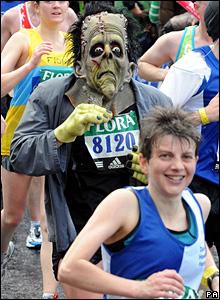 Runner in a Frankenstein's monster costume