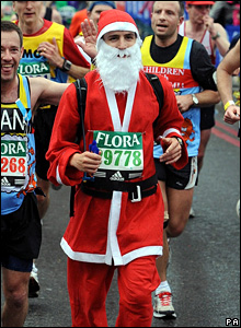 Runner in a Santa Claus outfit