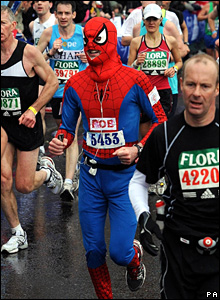 Runner in a Spider-man outfit