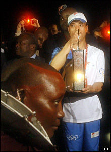The torch arrives in Tanzania on Saturday night