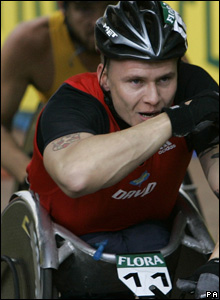 "Britain""s David Weir wins the mens wheelchair 2008 London Marathon"