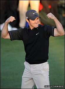 Trevor Immelman celebrates his Masters victory