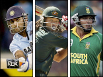 Mahendra Singh Dhoni, Andrew Symonds and Jacques Kallis