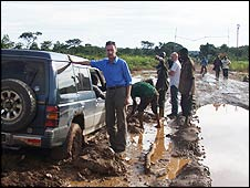 Tim Whewell's car stuck in mud on Congo's roads