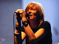 Portishead's lead singer Beth Gibbons on stage at London's Hammersmith Apollo on 10 April 2008.