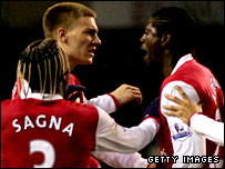 Nicklas Bendtner (left) and Emmanuel Adebayor