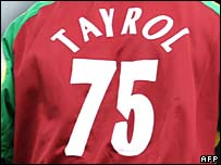 West Indies fast bowler Jerome Taylor's misspelt shirt