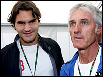 Roger Federer (left) and Jose Higueras