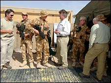 The three business leaders at Camp Bastion in Afghanistan