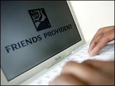 Friends Provident employee using laptop