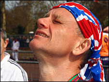 Dave Heeley at the end of the London Marathon